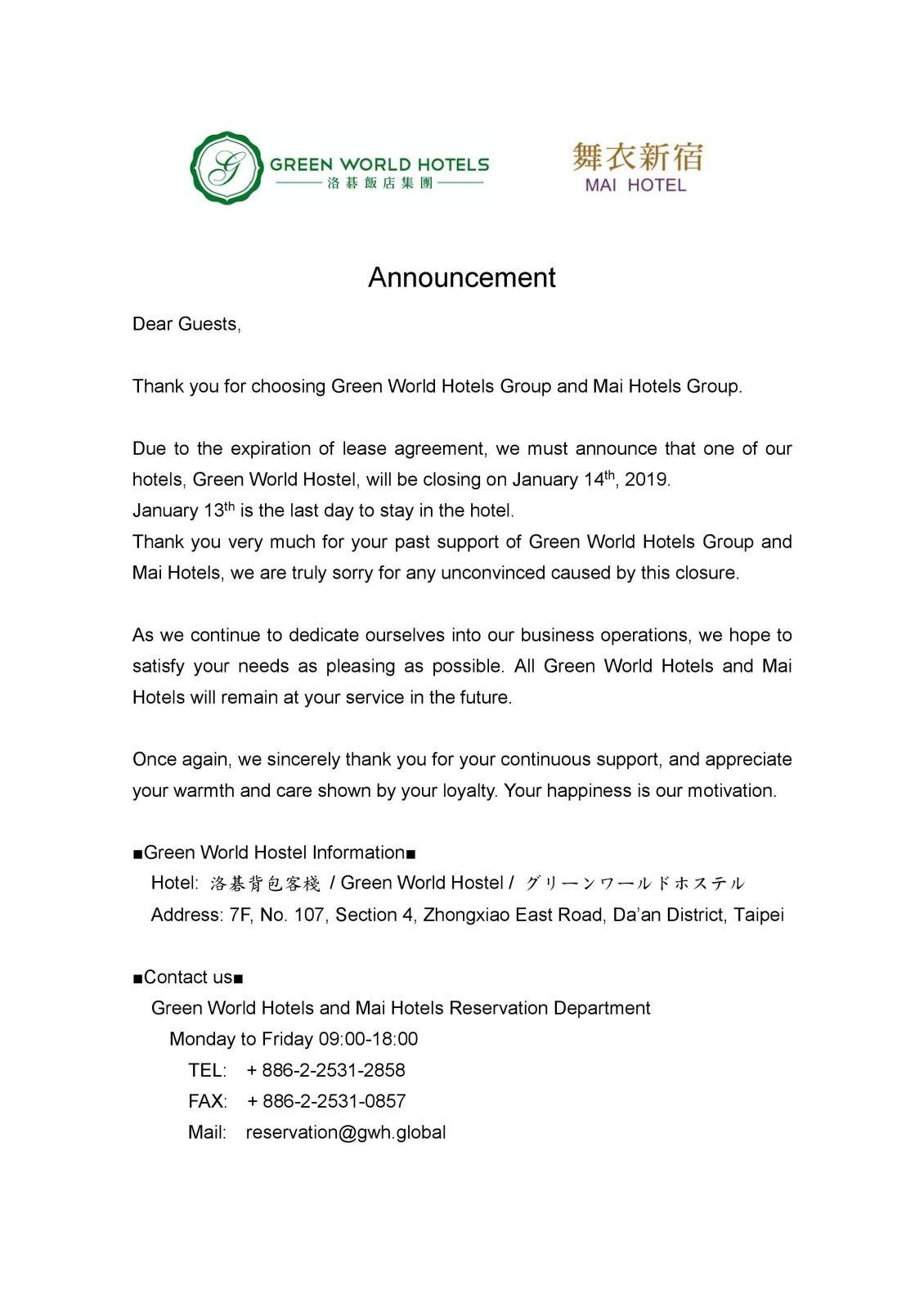 green world hostel closing announcement letter